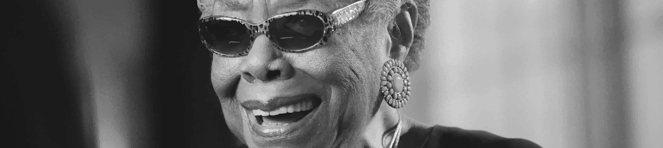 Close up black and white photo of Maya Angelou wearing sunglasses