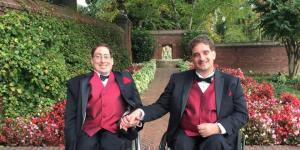 Ben Spangenberg and Justin Chappell in wedding tuxes