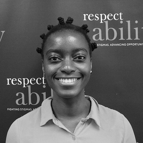 Headshot of Victoria Grace Assokom-Siakam in front of the Respectability banner