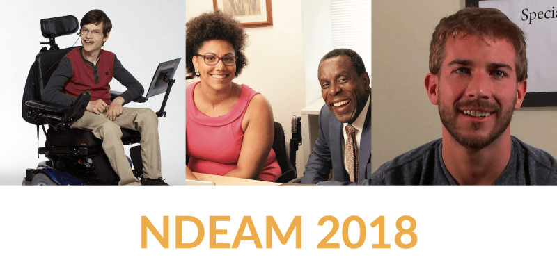 Images of Micah Fowler, two people from the ODEP PSA, and Chris Ulmer. Text: NDEAM 2018