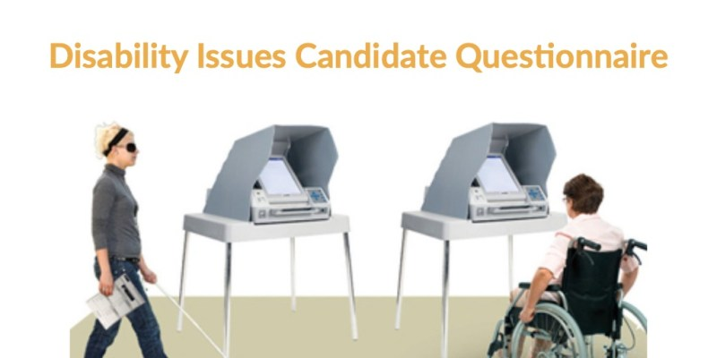Cartoon of two people with disabilities in front of voting booths. Text: Disability Issues Candidate Questionnaire