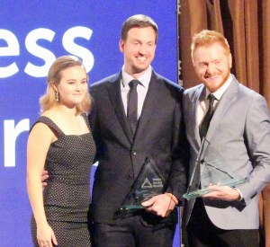 Millicent Simmonds, Scott Beck and Bryan Woods at the 2018 Media Access Awards
