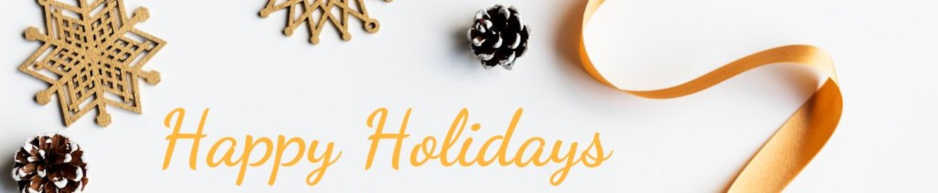 Text: Happy Holidays. Crafts shaped like snowflakes and other holiday decorations surround the text.