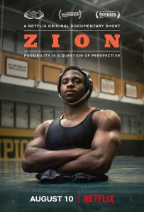 Poster for Zion on Netflix featuring Zion in uniform in the gym