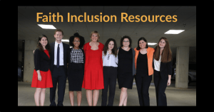 Text: Faith Inclusion Resources. Photo of RespectAbility Jewish staff and Fellows