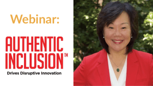 """Photo of Frances West wearing a red jacket smiling in front of trees. Text: """"Webinar: Authentic Inclusion Drives Disruptive Innovation."""""""