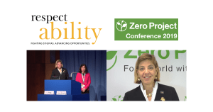 RespectAbility logo. Zero Project Conference 2019. Photos of Jennifer Laszlo Mizrahi and Lisa Trygg presenting on stage and Jennifer Laszlo Mizrahi accepting award