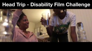 Tatiana Lee and her co-star acting in Head Trip. Text: Head Trip - Disability Film Challenge