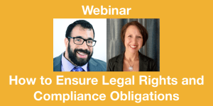 Headshots of Matan Koch and Tracie DeFreitas, both smiling. Text: Webinar How to Ensure Legal Rights and Compliance Obligations