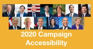 Photos of the 13 candidates covered in the Miami Lighthouse Report. Text: 2020 Campaign Accessibility