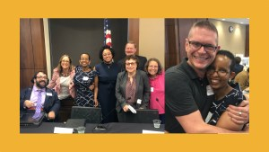 Photos of RespectAbility's Self Advocacy Panelists, including Laka Mitiku Negassa, together behind a table and Laka Mitiku Negassa hugging a man who helped her recover from her brain injury at RespectAbility's 2019 summit