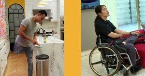 Separate images of Emilio, who is an amputee, inside a kitchen on The Real World Mexico, and Pao, who is a wheelchair user, inside a living room on The Real World Thailand