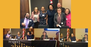 Image of self advocacy panelists smiling together and three separate images of panelists speaking