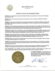Proclamation from Florida Governor Ron DeSantis for Disability History and Awareness Weeks