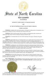 Proclamation from North Carolina for NDEAM 2019