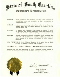 Proclamation for Disability Employment Awareness Month in South Carolina