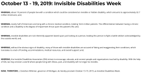 Proclamation from Governor Gretchen Whitmer for Invisible Disabilities Week