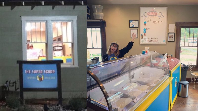 Photos of the outside of Edmond's Super Scoop and the inside of the ice cream shop with an employee waving and smiling at the camera