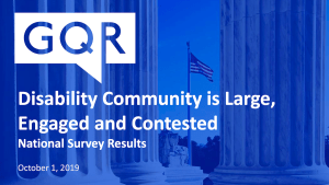 logo for GQR. Text: Disability Community is Large, Engaged and Contested National Survey Results October 1 2019 Background image of an American flag from inside a memorial in D.C.