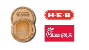 """Image of the Lex Frieden Employment Award medal, which says """"Texas Works Best When All Texans Work"""". Logos for H-E-B and Chick-Fil-A"""