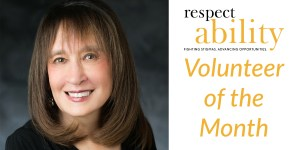 headshot of Vivian Bass smiling at the camera. RespectAbility logo. text: volunteer of the month