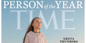 Cover of Time's Person of The Year Issue with Greta Thunberg in a pink sweatshirt in front of a blue sky