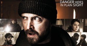 "Poster for The Parts You Lose, with the tagline ""Danger Hides in Plain Sight"" and stills from four scenes in the movie, with Aaron Paul in the foreground"