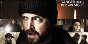 """Poster for The Parts You Lose, with the tagline """"Danger Hides in Plain Sight"""" and stills from four scenes in the movie, with Aaron Paul in the foreground"""