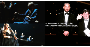 Photos of Tobias Forrest and Victoria Canal performing in a choir with Chrissy Metz, and Zack Gottsagen presenting with Shia LeBeouf on stage at the 2020 Academy Awards