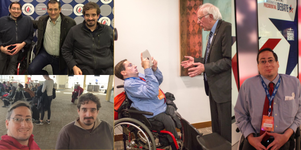 Photos of Ben Spangenberg and Justin Chappell with Ted Cruz, at an airport, interviewing Bernie Sanders and at a 2016 Debate