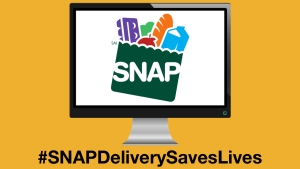 The SNAP logo displayed on a computer monitor. Text: #SNAPDeliverySavesLives