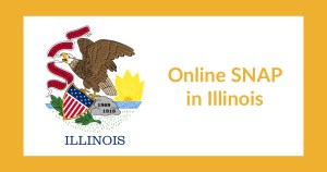 Illinois state flag. Text: Online SNAP in Illinois