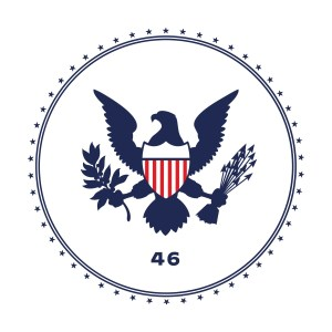 Biden transition logo with a bald eagle and the number 46.