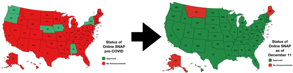 Two maps of the United States showing status of online SNAP before the COVID pandemic and now