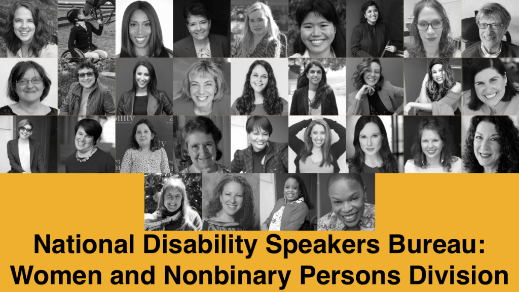 Headshots of 31 speakers in RespectAbility's Women and Nonbinary Persons Division Speakers Bureau. Text: National Disability Speakers Bureau: Women and Nonbinary Persons Division