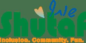 Shutaf logo. Inclusion. Community. Fun.