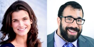 Headshots of Leah Romond and Matan Koch smiling
