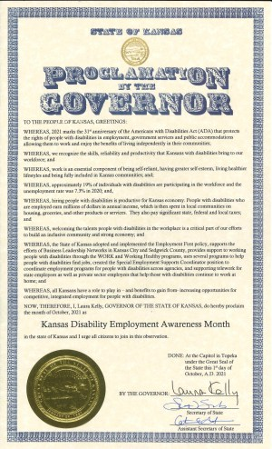 Proclamation for Disability Employment Awareness Month 2021 in Kansas