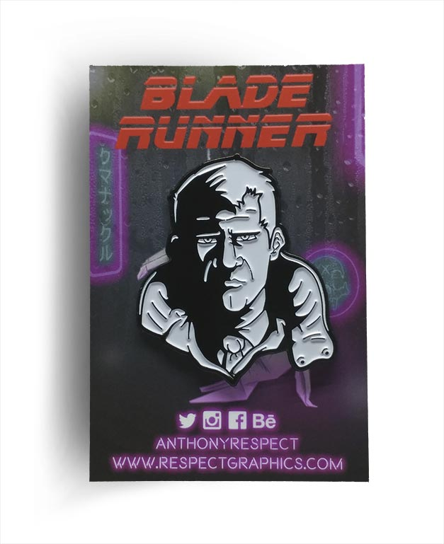 Blade Runner Deckard Noir Black and White Edition Soft Enamel Pin By Respect