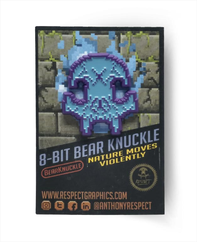 8Bit Retro Gaming Color Edition Skull Bear Knuckle Skull Logo Hard Enamel Pin By Respect