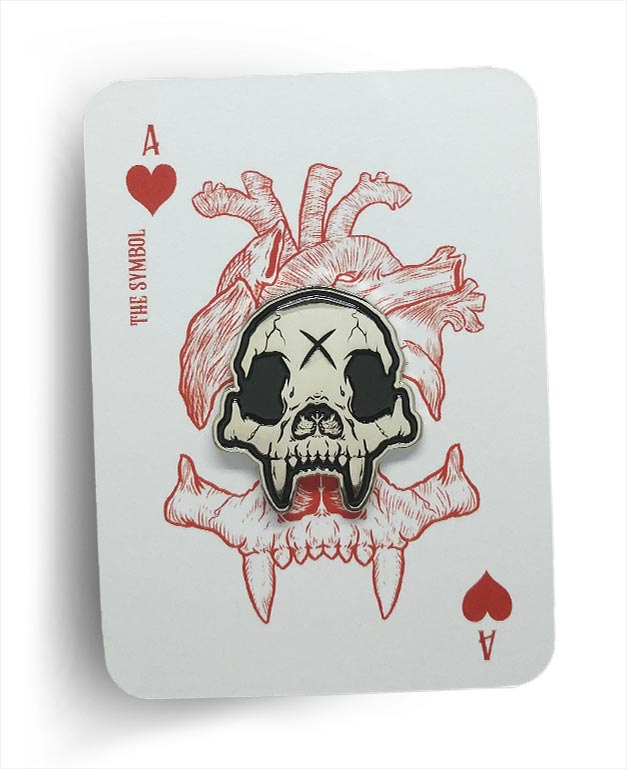 Bear Knuckle Skull Logo Brushed Nickel Die Struck Enamel Pin On Playing Card Backer By Respect