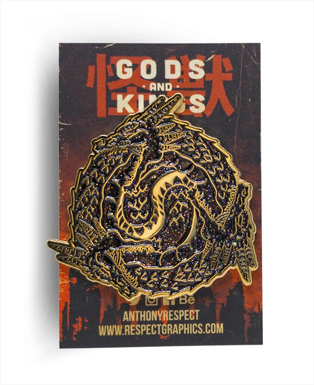 Ghidorah Ghidoroboros Void Limited Edition Gold Enamel Finish Kaiju Gods and Kings Enamel Pin By Respect