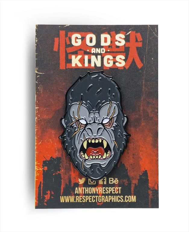King Kong Classic Edition Black Enamel Finish Kaiju Gods and Kings Enamel Pin By Respect