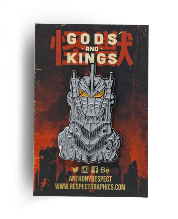 Kiryu Mechagodzilla Millennium Edition Silver Finish Kaiju Gods and Kings Enamel Pin By Respect