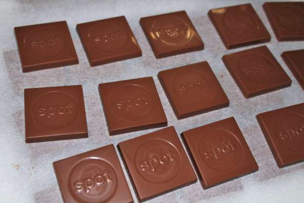 Spot Chocolates before final packaging.