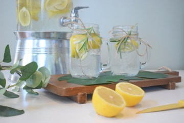 This is a photo fo some lemons in a jar of water with some mint