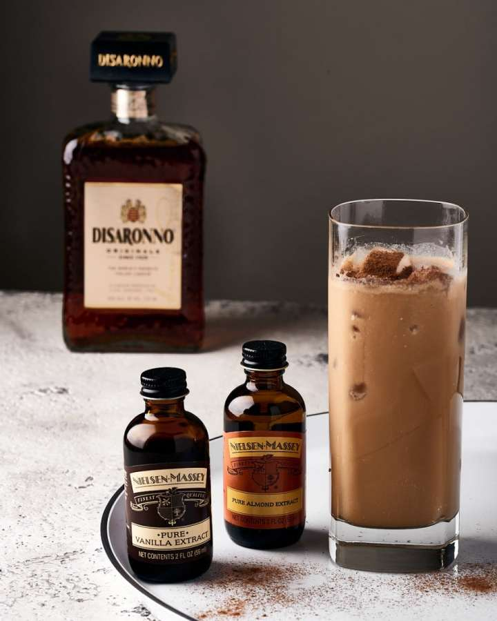 Iced Coffee with Amaretto and Extracts