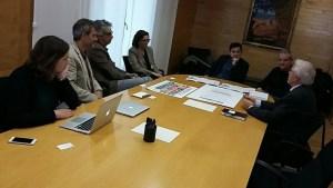 D'esquerra a dreta: Nekane Navarro, Josep Maria Canyelles, David Cos, Mercè Mullor, Gerardo Pisarello, Jordi Via, Narcís Bosch