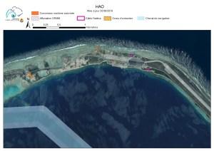 Carte de l'atoll de Hao au 20/08/2018
