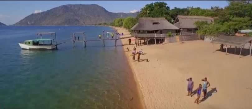 Locals on the shore of Lake Malawi